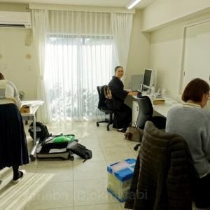 退院十二日目、オフィスで仕事三昧!藍紫十字絣紬に黄土色地墨茶エジプトの鳥柄帯