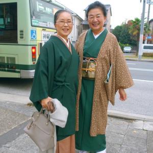 退院14日目、なんと京都のきものブロガーに遭遇!100年前の祖母の更紗の帯締めて