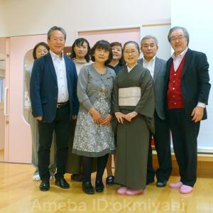 退院二十九日目、島根県で一日研修会。素晴らしいみなさん!墨茶着物にワッフル帯