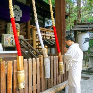 岡崎神社に初詣とお礼参り!学生の研究指導始め:グレージュ違い縞着物にイカット帯