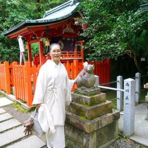 哲学の道、狛ねずみの大豊神社へ初詣!手染め手織り自作土筆柄の紬帯締めて