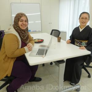 イエメンの留学生の研究相談と和食ランチ!墨色単衣に香淳皇后の帯締めて