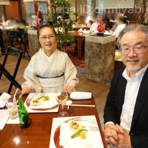 昨年誂えの絹紅梅の柳縞の着物着て、ホテルの広東料理マダムチャイナを味わいに