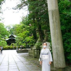 神社で厄除け祈願、ちょっと遅れた土用の丑の日!畳縞小千谷ちぢみの着物着て
