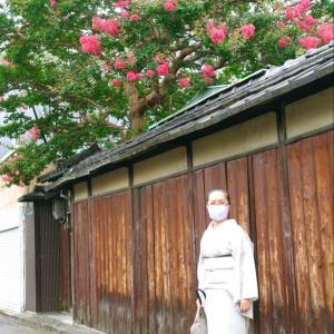 京料理『六盛』で、祇園祭の雰囲気!小千谷縮み白地墨疋田くずしの着物で