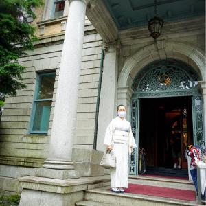 京都の迎賓館『長楽館』カフェでお茶を!柳縞の絹紅梅の着物着て