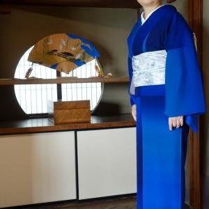 初おろしの深海ブルーの着物着て、吉田山荘でリモートワーク