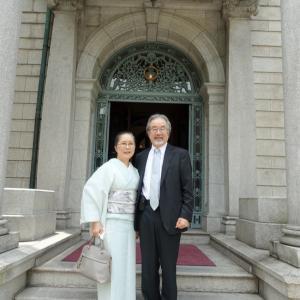 夫の誕生祝に、京都の古き迎賓館・長楽館へ!青磁色の紗袷の着物着て