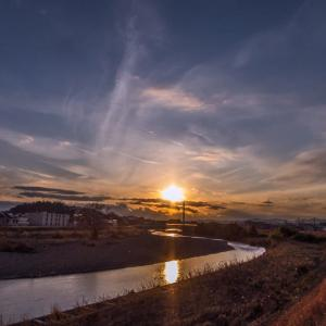 1月16日(木)ダイヤモンド富士-新井橋上流左岸✕
