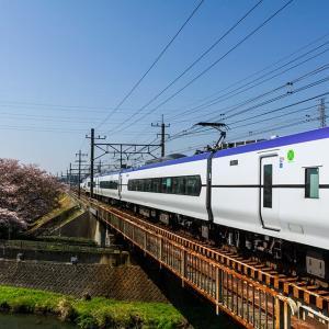 4月4日(土)中止になったコースを歩いた-残堀川の桜と中央線電車