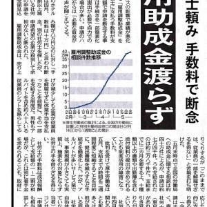 6月2日(火)東京新聞 夕刊トップ「雇用調整助成金」断念する会社もある!?