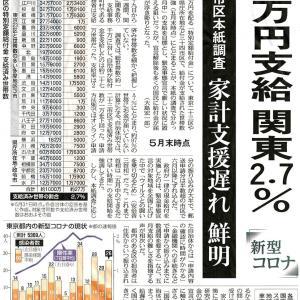 6月7日東京新聞-10万円支給 関東2.7%