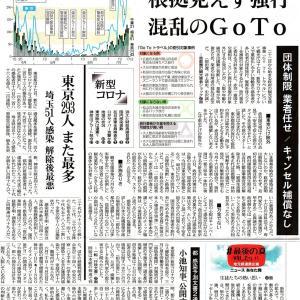 7月18日東京新聞GoToトラベルと新型コロナ感染者数