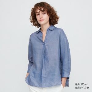 ユニクロのプレミアムリネンスキッパーシャツ(7分袖)