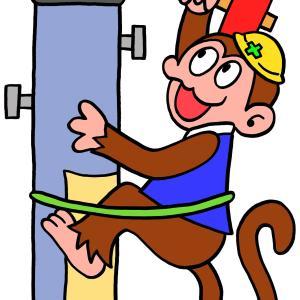 今日のイラスト86「おサルの電柱工事」