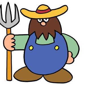 今日のイラスト87「ひげもじゃ農夫」