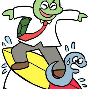 今日のイラスト100「亀のサーフィン」
