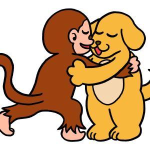 今日のイラスト236「犬猿の仲良し」
