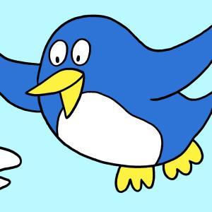 今日のイラスト244「空飛ぶペンギン」