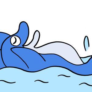 今日のイラスト246「イルカの背泳ぎ」