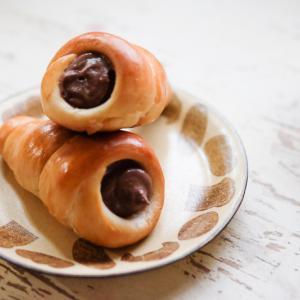 長男帰宅中&チョココルネ&「かとうようこ」さんのパン柄プレート。