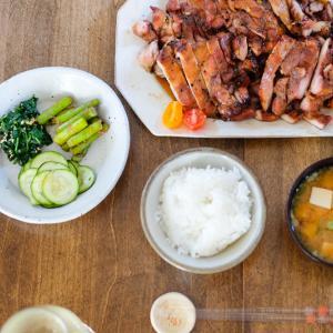 【レシピ】ハワイアンチャーシューチキン&緑のお野菜三種盛り(適当レシピあり)