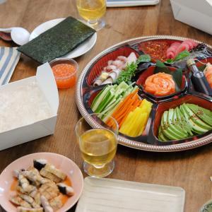 『行ってらっしゃいディナー』は豪華な手巻き寿司で。