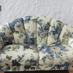綿ツイルブルー花柄 フライス用ソファ
