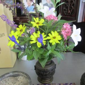 庭の小花を仏花に・・・
