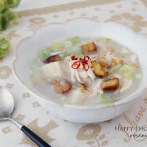 蒸し鶏と栗のサムゲタン風粥