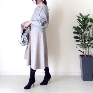 しまむら スカートとロングブーツ&コート購入品コーデ/クレベリン