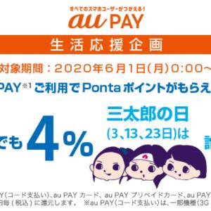 au Pay 生活応援企画 誰でもローソン4%・三太郎の日7%還元
