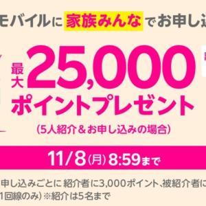 楽天モバイル 「家族みんなで最大25,000Pプレゼントキャンペーン」開始!11月8日まで