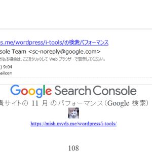 「11 月 の https://mish.myds.me/wordpress/i-tools/ の検索パフォーマンス」のメール