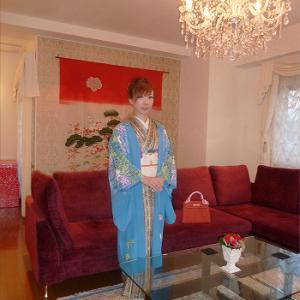 2014藤の単衣絵羽織にアラベスク小紋で☆彡西洋膳所あおやまディナー