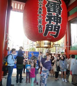 2014東京浅草旅行(1)芥子の加賀友禅に蝋纈染の袋帯で浅草寺・新橋江戸銀