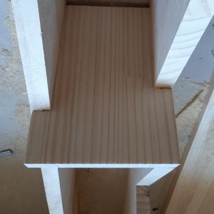 ロフト階段施工② ホゾ穴空け
