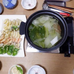 夕食は天ぷらと豚しゃぶ
