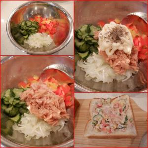 朝食にツナマヨのオープンサンドを作りました。