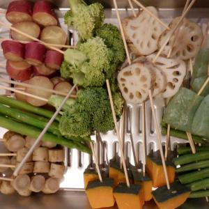 夕食は孫の好きな串カツを作りました。