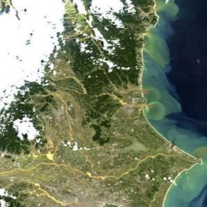 台風19号が大量の土砂流出 JAXAの画像
