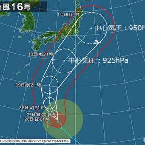 そこそこ強い台風16号 30~1日に列島に沿って北上?
