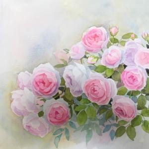 バラの練習と若葉恵子さんの個展に行く