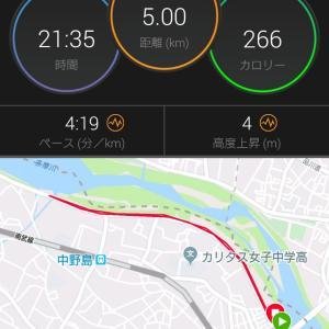 勝田前の最後の5kmペース走と週末の天気の続報