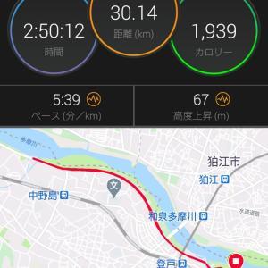 金曜日は予定を前倒しして30kmペース走