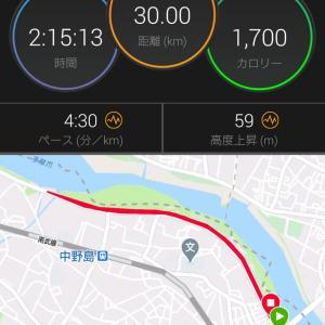 週末恒例のビルドアップロング走30km結果