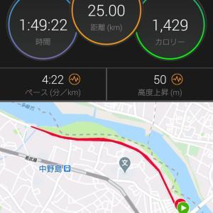 強風に耐えた土曜日深夜の25kmビルドアップ走