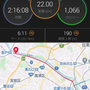 日曜日はMペース25km走とのセット練で疲労抜き22kmLSD