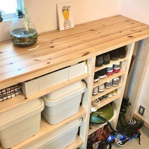 【DIY】キャンプグッズを収納する玄関棚を2X4材でつくってみた
