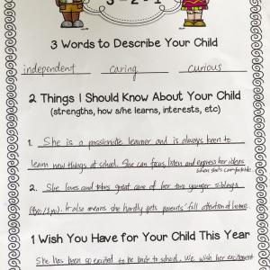 新学期にインターの先生に提出した、うちの子についてと望むこと。